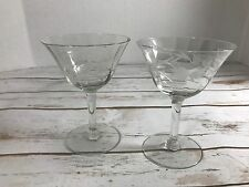 Vintage Etched Glass Tall Champagne Cocktail Coupe Martini Glasses, Set of 2