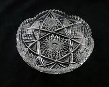 """American Brilliant Cut 8"""" Bowl, Antique ABP Hand Made Pitkin & Brooks Crystal"""