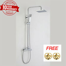 SQUARE MODERN BATHROOM THERMOSTATIC RIGID RISER DUAL BAR VALVE SHOWER MIXER KIT