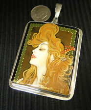 hand painted miniature pendant of art nouveau artist Alphonse Mucha's Job