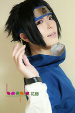Naruto Uchiha Sasuke Black Short Flip Out Cosplay Costume Wig + free net