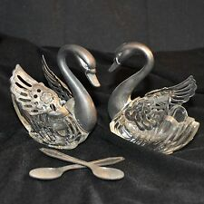Vintage Pair Crystal Swans Movable Wings Open Salt Cellars with Spoons Italy