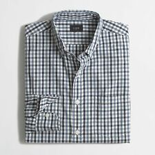 J. Crew Factory - S - NWT $59 - Blue Gingham Plaid L/S Washed Tattersall Shirt
