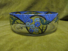 Rare coupe verre emaillé de fleurs Mazoyer art deco (french enamel glass bowl)