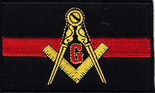 MASONIC THIN RED LINE FLAG-IRON ON EMBROIDERED PATCH, FIREFIGHTER,RESCUE