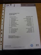 14/04/2014 Tottenham Hotspur u21 V Manchester United u21 (singolo foglio teamshee