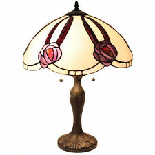 """Tiffany Style Victorian Scalloped Rose Table Lamp Handcrafted 18"""" Shade"""