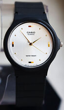 Casio White with Gold Markers Analog Dress Watch MQ76-7A New Black Resin Band