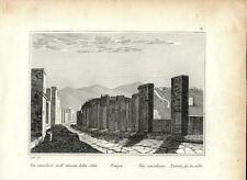 Stampa antica POMPEI Via Consolare Napoli 1834 Old antique print Engraving