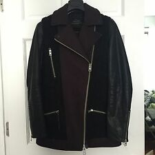 All Saints Women Oxblood/Black Biker Leather/Wool Coat Jacket Sz 6 Fits like 0/2