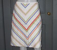 TALBOTS white multi color CHEVRON skirt 6 lined GUC