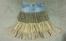 MUDD Multi-Color Denim & Fabric Tiered Design Fashion Skirt, sz 13