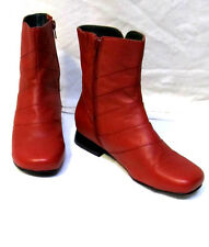 sz 6/36 CBD Ankle Boots red leather/leather-lined low heel comfy shoes NEW $200