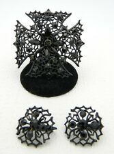 VTG Demi Parure Black Enamel Rhinestone Maltese Cross Brooch & Clip Earring Set