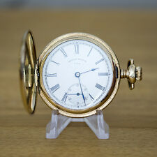 Waltham Gold Filled Full Hunter Pocket Watch with Stag on Rear Cover.