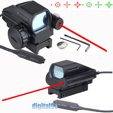 *Tactical Holographic Red Green Dot Reflex Scope 4 Reticles w/ Red Laser Sight