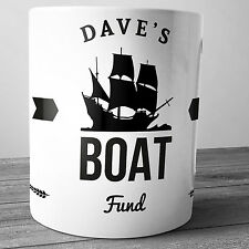 BOAT FUND PERSONALISED CERAMIC MONEY BOX PIGGY BANK PENNY JAR SHIP GIFT SAILING