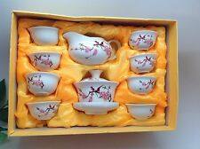 Gaiwan Bird Flower White Tea Set 13 Pcs With Gift Box Best Seller Half Price Now
