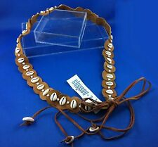 Womens Tan Leather Belt Cowrie Shells Beads 80cm Adjustable Aztec Surf Kuchi