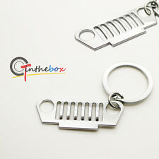 One Piece Chrome Jeep Front Bumper Grill Shape Key Chain Ring Keychain