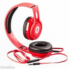 D50 Foldable Headset On-Ear Headphones Stereo Inline Remote - Red
