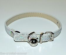 "2 X SILVER SHIMMER GLITTER ❀ CAT COLLAR FITS 8""-11"" ~ CAT COLLAR SAFETY ❀"
