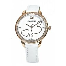 Swarovski Aila Day Heart Mother of Pearl White Leather Watch 5242514 New in Box