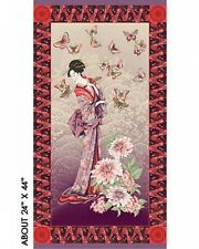 Geisha Tea House Plum Red Panel Cotton Quilting Fabric - 60cm x 110cm