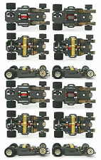 4pc 1982 Aurora AFX G+ G-PLUS Slot Car WHITE Wheel WIDE CHASSIS Bench Tested Dul