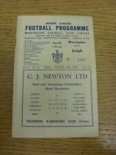 26/12/1958 Rugby League Programme: Warrington v Leigh (folded, creased). Bobfran
