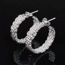 925 Silver Plated Multi Chains Pattern Open Hoop Stud Earrings Butterfly Back