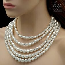 Alabaster White Glass Pearl Multi Layered Strand Bead Chunky Necklace 619 String