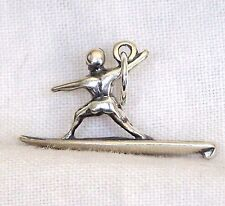 VINTAGE Sterling Silver 3D BOY SURFER Surfing Charm - NOS New Old Stock