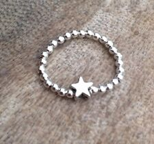Silver Star Ball Beaded Stretch Ring FREE P&P