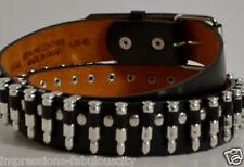 SMALL QUALITY GENUINE LEATHER MEN WOMEN BELT SILVER BULLET - PUNK ROCK ACDC
