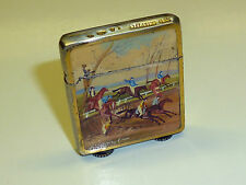 ANTIQUE VINTAGE 935 STERLING SILVER MINI LIGHTER W. ENAMEL HUNTING MOTIF-AUSTRIA