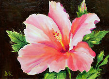 """Hibiscus  ""Original  Stillife Flowers Oil Painting /New /Signed by M.Kilic"