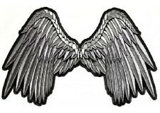 "(L21) Large SILVER ANGEL WINGS 11"" x 7"" sew / iron on patch (3201) Biker vest"
