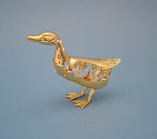 "SWAROVSKI CRYSTAL ELEMENTS ""DUCK"" FIGURINE - ORNAMENT 24KT GOLD PLATED"