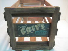 VINTAGE WOOD-WOODEN IMPROVED COITS MELON RECORD HOLDER CRATE BOX ADVERTISING