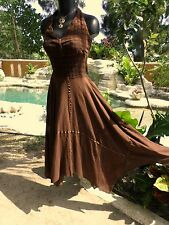 Mexican Hand Embroidered Womens Brown Halter Gauze Dress Small 6/8