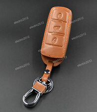 Brown Leather Holder Smart Key Case Cover Shell For VW Passat B6 B7 CC Magotan