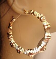 LARGE 3 inch HOOP EARRINGS Bamboo earrings - Old School GOLD TONE BAMBOO HOOPS