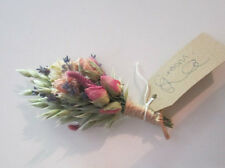 BUTTONHOLES Bespoke Wedding Natural Dried Flowers.ROSE Buds design with twine