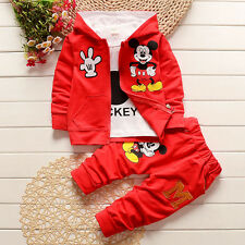3pcs Kids Baby Boys Girls Outfits Set Mickey Mouse Coat+T shirt+Pants Clothing