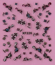 Nail Art 3D Decal Stickers Beautiful Small Flowers with Rhinestones XF226