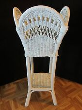 VINTAGE WHITE WICKER PLANT STAND BASKET W/ WOOD BEADS PATIO CHIPPY Antique