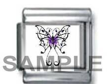PURPLE CELTIC BUTTERFLY SYMBOL OF REBIRTH 9MM ITALIAN CHARM LINK spring life