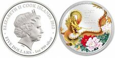 2012 Cook Islands, $5, Year of the Dragon Best of Luck 1oz Silver Coloured