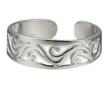 Silver Toe Ring .925 Sterling Filigree Wave Adjustable Jewelry